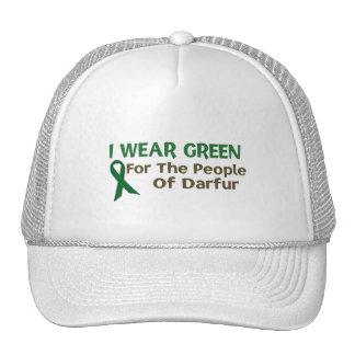Llevo el verde para la POBLACIÓN de DARFUR Gorros Bordados