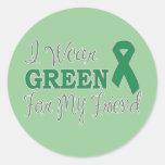 Llevo el verde para mi amigo (la cinta verde) pegatina redonda