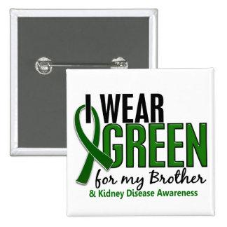 Llevo el verde para mi enfermedad de riñón de Brot Pin Cuadrada 5 Cm