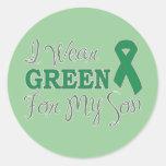 Llevo el verde para mi hijo (la cinta verde de la etiquetas redondas