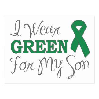 Llevo el verde para mi hijo la cinta verde de la postal