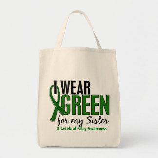 Llevo el verde para mi parálisis cerebral de la bolsa tela para la compra