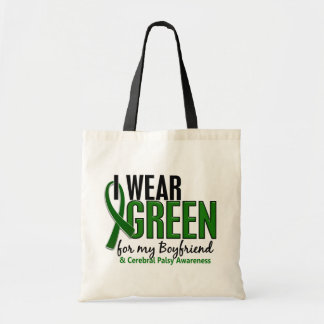 Llevo el verde para mi parálisis cerebral del novi bolsas lienzo