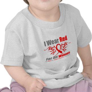 Llevo enfermedad cardíaca tribal roja de las mujer camisetas
