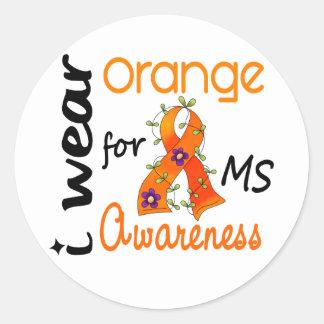 Llevo esclerosis múltiple del ms de la conciencia pegatina redonda