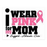Llevo la ayuda rosada de la cinta para mi mamá tarjetas postales