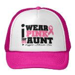 Llevo la ayuda rosada de la cinta para mi tía gorras