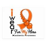 Llevo la cinta de la leucemia para mi héroe tarjetas postales