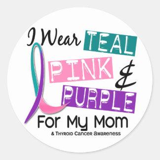 Llevo la cinta de la tiroides para mi mamá 37 pegatina redonda