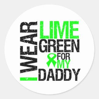 Llevo la cinta de la verde lima para mi linfoma pegatina redonda