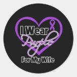Llevo la cinta de Purple Heart - esposa Etiquetas Redondas
