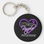 Llevo la cinta de Purple Heart - mamá Llavero Personalizado