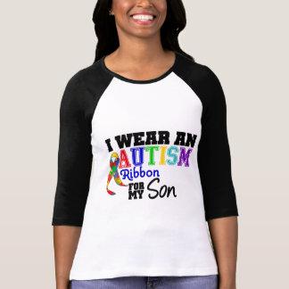 Llevo la cinta del autismo para mi hijo camisetas