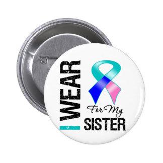 Llevo la cinta del cáncer de tiroides para mi herm pin redondo 5 cm