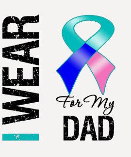 Llevo la cinta del cáncer de tiroides para mi papá camiseta
