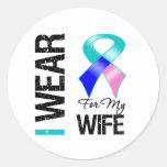 Llevo la cinta del cáncer de tiroides para mi etiquetas redondas