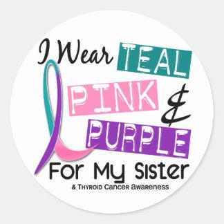Llevo la cinta del cáncer de tiroides para mi pegatina redonda