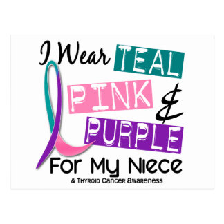Llevo la cinta del cáncer de tiroides para mi postal