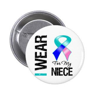 Llevo la cinta del cáncer de tiroides para mi sobr pin redondo 5 cm