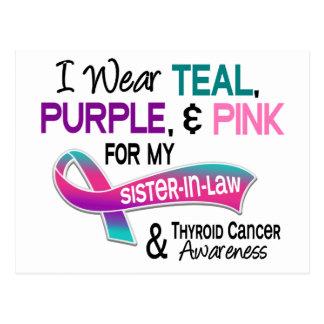 Llevo la cinta del cáncer de tiroides para mi tarjeta postal