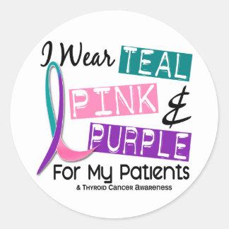 Llevo la cinta del cáncer de tiroides para mis etiqueta redonda
