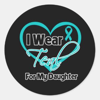 Llevo la cinta del corazón del trullo para mi hija pegatinas redondas