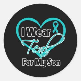 Llevo la cinta del corazón del trullo para mi hijo etiqueta redonda
