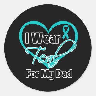 Llevo la cinta del corazón del trullo para mi papá etiqueta redonda
