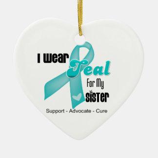Llevo la cinta del trullo para mi hermana adorno navideño de cerámica en forma de corazón