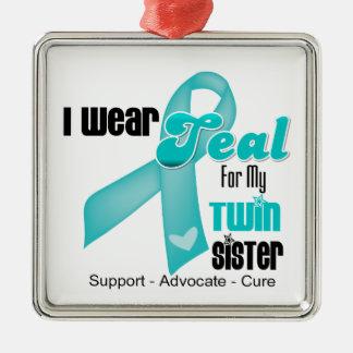 Llevo la cinta del trullo para mi hermana gemela adorno cuadrado plateado