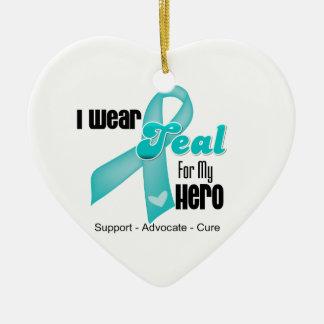 Llevo la cinta del trullo para mi héroe adorno de cerámica en forma de corazón