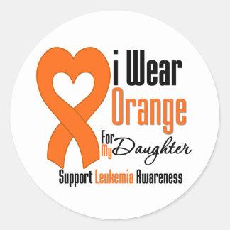 Llevo la cinta hija - leucemia pegatina redonda