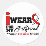 Llevo la cinta oral del cáncer para mi novia etiqueta redonda