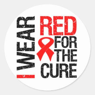Llevo la cinta roja para la curación pegatina redonda