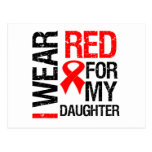 Llevo la cinta roja para mi hija tarjetas postales