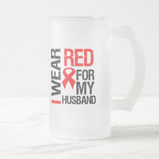 Llevo la cinta roja para mi marido taza de cristal