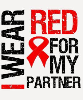 Llevo la cinta roja para mi socio camiseta