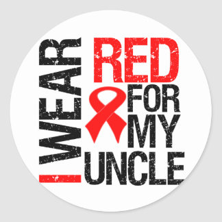 Llevo la cinta roja para mi tío pegatina redonda