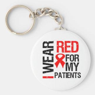 Llevo la cinta roja para mis pacientes llavero redondo tipo pin