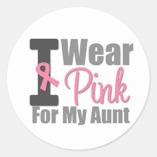 Llevo la cinta rosada para mi tía pegatina redonda