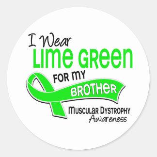Llevo la distrofia muscular de Brother de la verde Pegatina Redonda