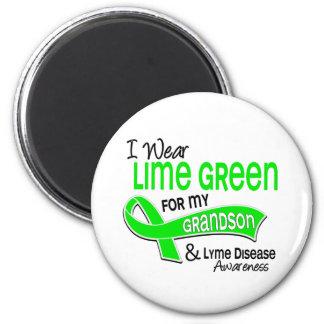 Llevo la enfermedad de Lyme del nieto de la verde Imán Redondo 5 Cm