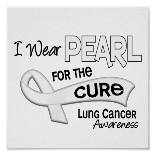 Llevo la perla para el cáncer de pulmón de la cura impresiones