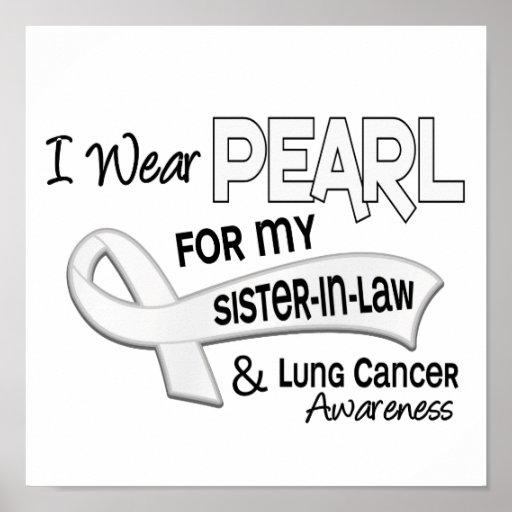 Llevo la perla para mi cáncer de pulmón de la cuña posters