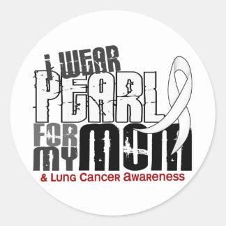 Llevo la perla para mi cáncer de pulmón de la mamá etiquetas redondas