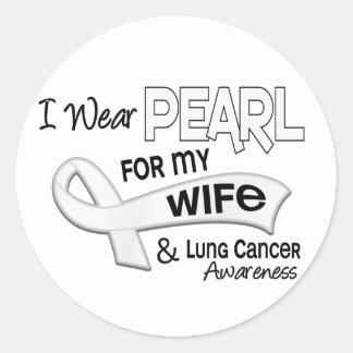 Llevo la perla para mi cáncer de pulmón de la pegatina redonda