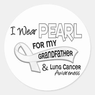Llevo la perla para mi cáncer de pulmón del abuelo pegatina redonda