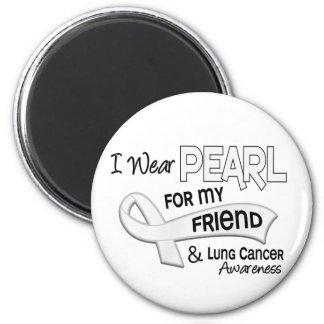 Llevo la perla para mi cáncer de pulmón del amigo imán redondo 5 cm