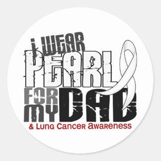 Llevo la perla para mi cáncer de pulmón del papá 6 pegatina redonda