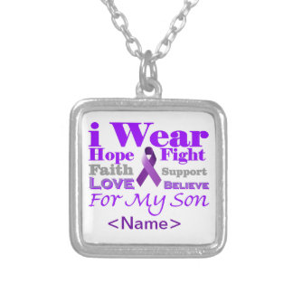 Llevo la púrpura (epilepsia) para mis productos de colgante cuadrado